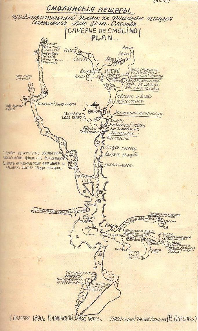 Смолинская пещера схема